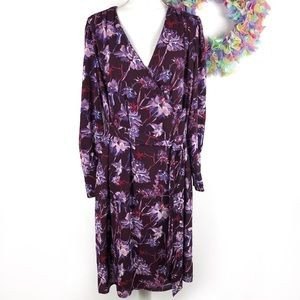 Who What Wear Long Sleeve Floral Wrap Dress XL